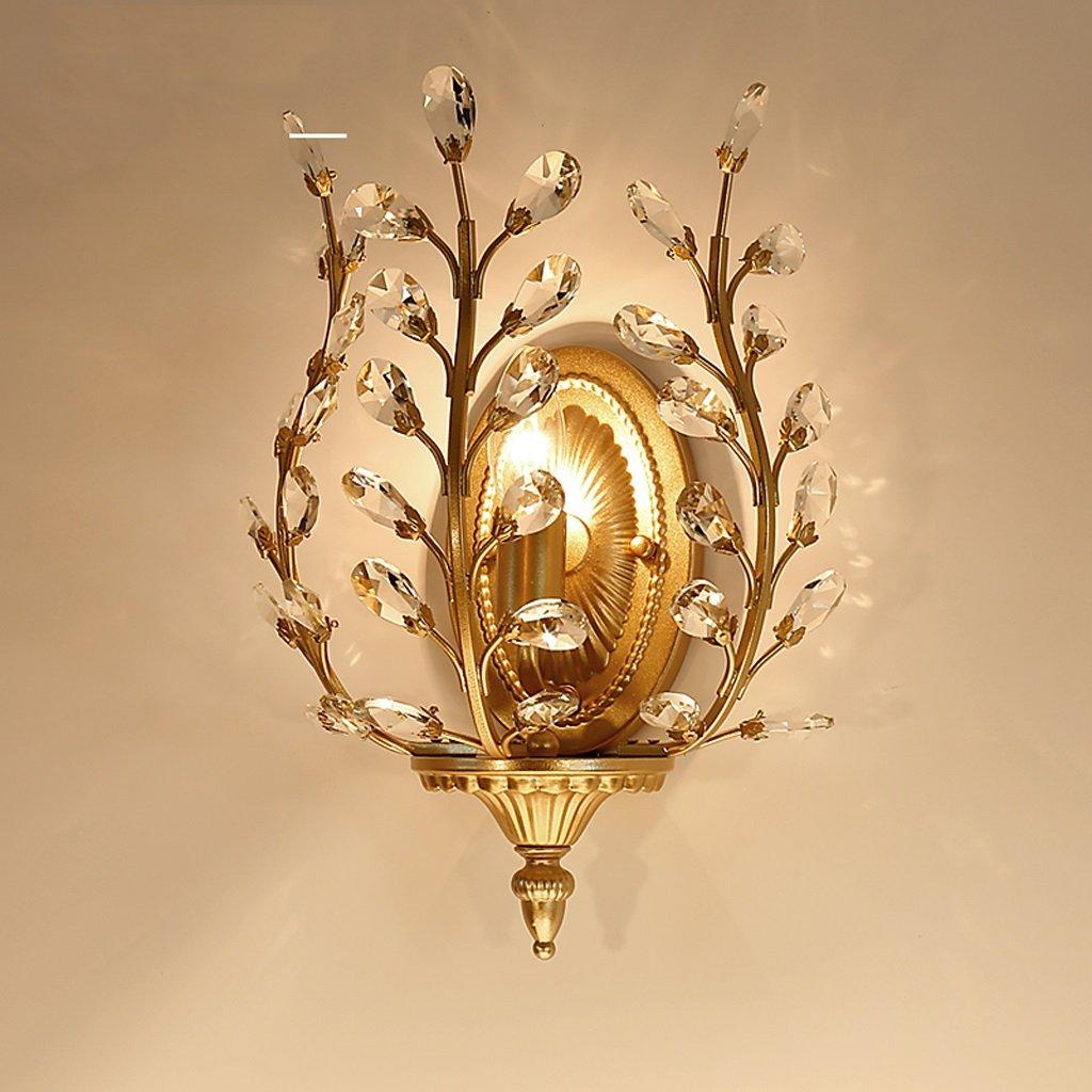 American Village Lampione a parete in cristallo Lampade da comodino in camera da letto nordica Lampade da parete in ferro da parete in retro aisle (colore   Champagne oro)
