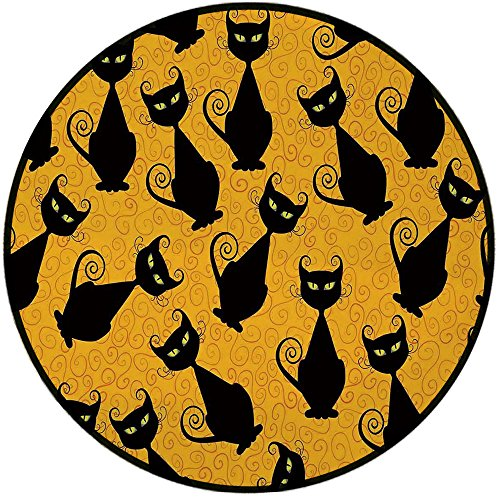 Printing Round Rug,Vintage Decor,Black Cat Pattern on Orange Background Halloween Witch Pet Graphic Decorative Mat Non-Slip Soft Entrance Mat Door Floor Rug Area Rug For Chair Living Room,Black -