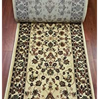 181637 - Rug Depot Bekmez Passion 726 Cream Traditional Hall and Stair Runner - 26 Wide Hallway Rug Runner - Custom Sizing - Cream Background - Choose Your Length - 26 x 12 feet