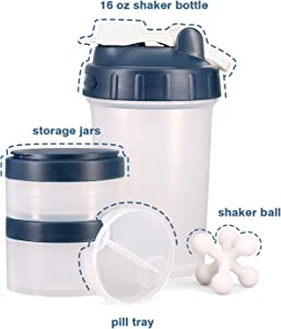 Hydro2Go 16 OZ Protein Shaker Bottle with Mixer Ball and 2 Interlocking Storage Jars for Pills, Snacks, Coffee, Tea. 100% BPA Free,Non Toxic and Leak Proof Sports Bottle