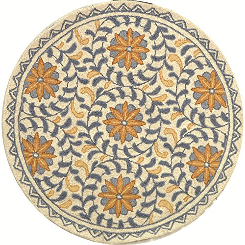Safavieh Chelsea Collection HK150A Hand-Hooked Ivory and Blue Premium Wool Round Area Rug (3' Diameter) 3' Hand Hooked Wool Rug