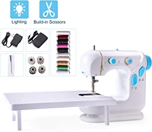 Beginner Sewing Machine Mini Portable Electric Sewing Machine with Extension Table Lamp and Thread Cutter, Bonus Shared 10 Thread Spools