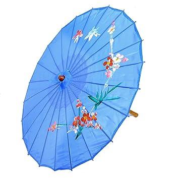 sourcing map Sombrilla Estilo Chino con Patrón de Orquídeas Danza Oriental  Azul Claro 7ffd47de8fc