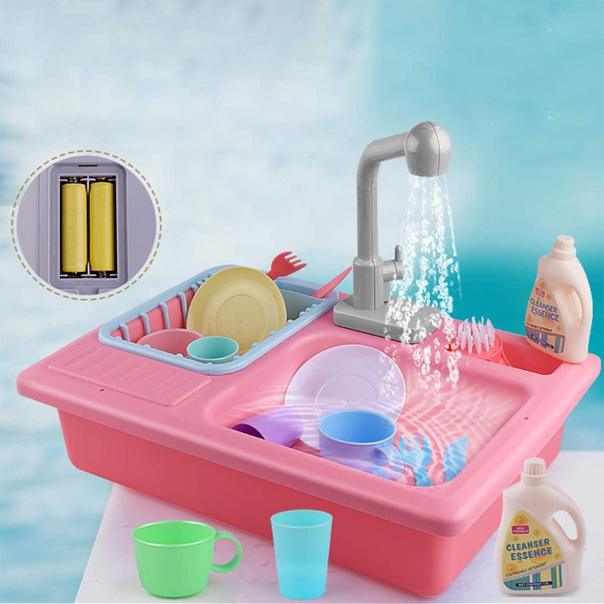 ZEEBABA Pretend Kitchen Toy Set, Children's Electric Sink Dishwasher Play Water tap Toy, Pretend Kitchen Toy boy and Girl Toddler Kid