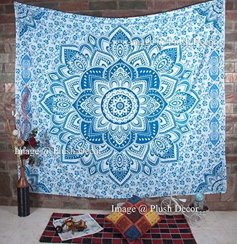 Large Blue Tapestry Wall Hanging Bohemian Ombre Mandala Tapestries Hippie Queen Bedspread Boho Hippy Beach Blanket- Plush - And Origin Smoke Mirrors