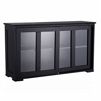 Amazon Ayamastro Black Sliding Door Storage Cabinet Sideboard