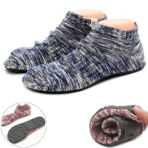 LANSA Women Slipper Socks Warm Thick Home Shoes Socks With Soles Rubber Bottom Non Slip Fun Wear Blue 1 Pair