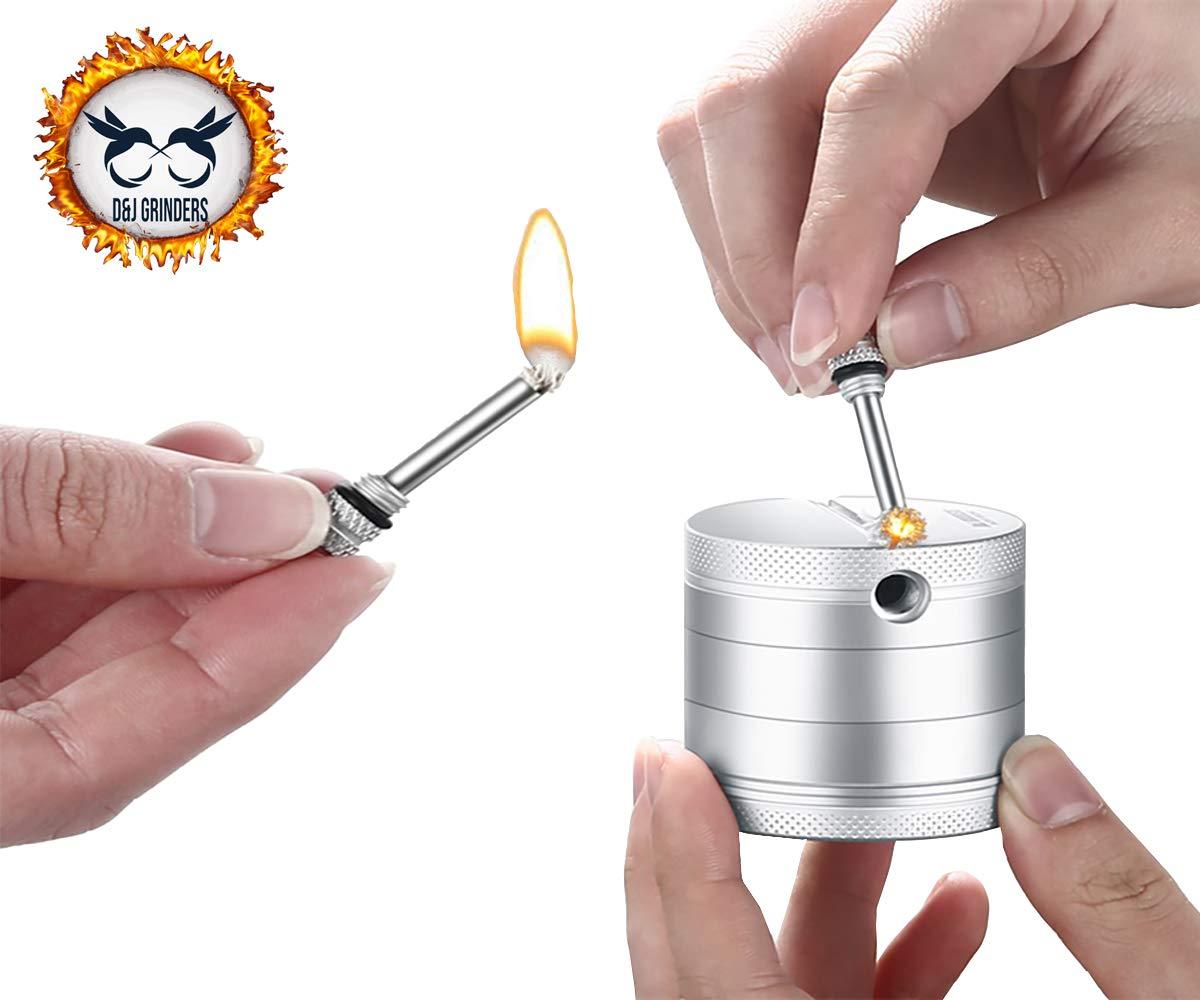 D/&J GRINDERS LITGHERS grinder for spices Best Spice Herb grinder utility patent pending silver 4 parts