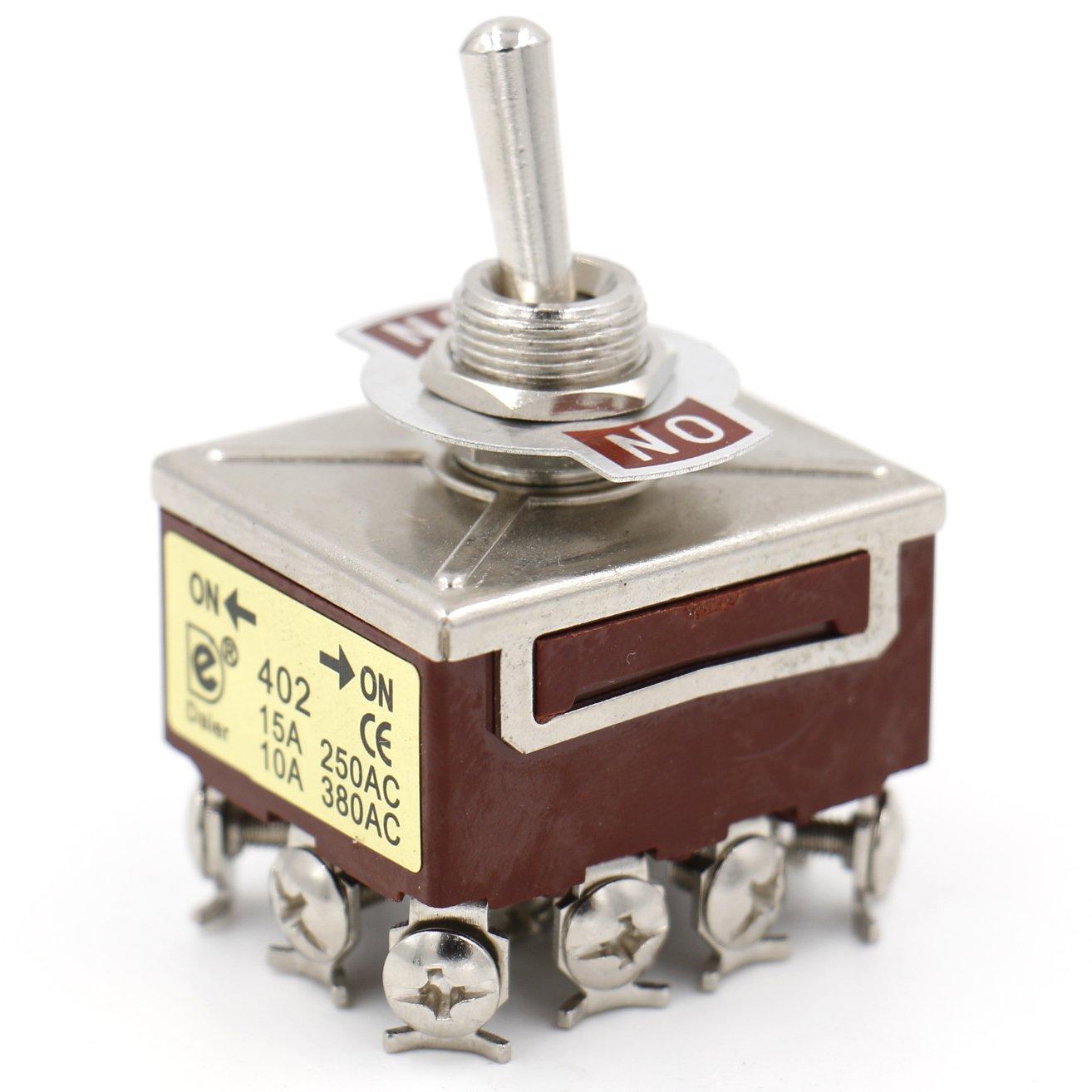 Heschen Interrupteur /à bascule en m/étal 4PDT avec position maintenue On//On 15/A 250/V CA 10/A 380/V CA CE