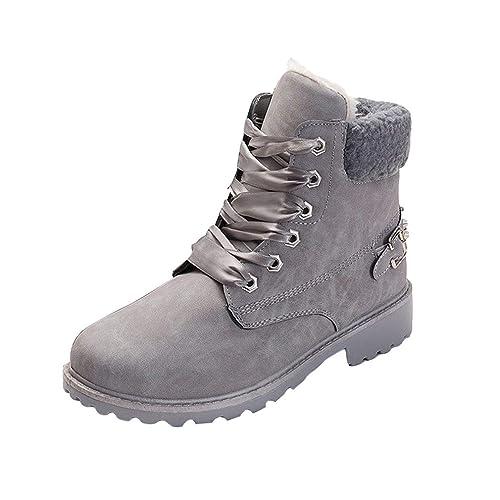 Botas de Piel Forradas Cómodas Mujer/Botines Planos de Invierno para Mujer/Zapatos con Cordones para Mujer,la Mejor Elección para Caminar,Hacer Senderismo o ...