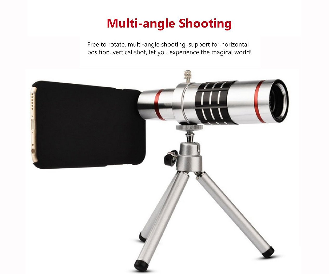 Youniker Optical Camera Lens Kit for Samsung Galaxy S7 Edge,18x Manual Focus Telephoto Lens for Samsung S7 Edge,Including 18x Aluminum Zoom Telescope Camera Lens With Tripod + Samsung S7 Edge Case by Youniker (Image #4)
