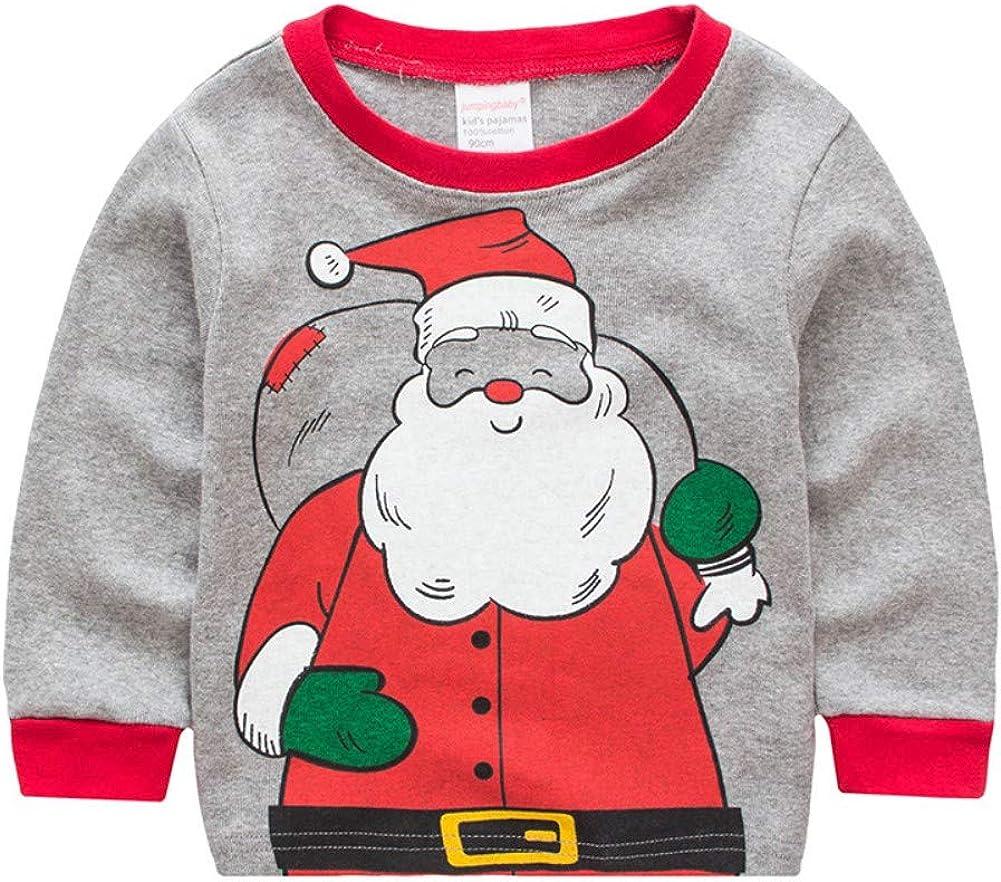 Miyanuby Pijamas Beb/és Ni/ño Ni/ñas Pijamas Navide/ños de Algod/ón Camiseta de Manga Larga de Pap/á Noel Pantalones 2-7 a/ños Ni/ños peque/ños Ropa de Dormir//Camisones Ropa de casa