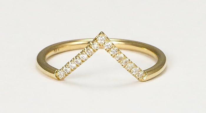 Amazoncom 14k Yellow Gold VShaped Stack Ring with Diamonds Handmade