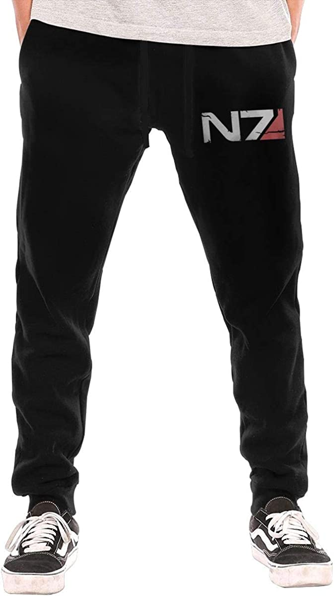Gosawel Mens Mass Effect N7 Logo Gym Jogger Pants Running Sweatpants with Pockets