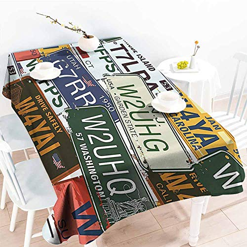 (Homrkey Rectangular Tablecloth Vintage Decor Original Retro License Plates Personalized Gifts Creative Travel Collections Art Multi Color Washable Tablecloth W50)