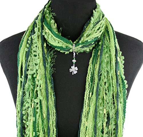 St Patrick's Day Green Shamrock Necklace Scarf ~ Irish Four Leaf Clover ~ Color Choice ~ Quality Fibers ~ Detachable Pendant Option