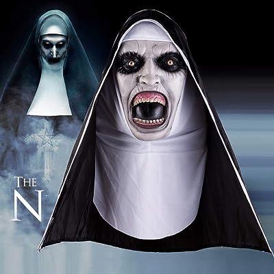 EFINNY Máscara de monja de látex Horror de Halloween cara completa cubierta con pañuelo para adultos y niños.: Hogar