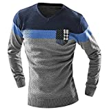 LOKOUO Men'S Mixed Colors Sweater Men Leisure SlimV-Neck Long-Sleeved Sweater Solid XXL GrayXX-Large