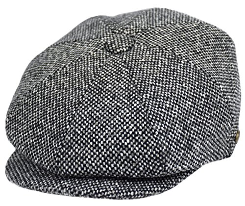 (Men's Wool Newsboy Cap, Herringbone Driving Cabbie Tweed Applejack Golf Hat (2124-Black Tweed,)