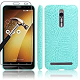 ASUS Zenfone 2 Case + Screen Protector, Gzerma Crocodile Skin Luxury Texture Hard PU Leather Back Ultralight Slim Cover, Shoockproof Protective Film for ASUS ZenFone2 ZE550ML / ZE551ML 5.5 Inches Smartphone, Blue