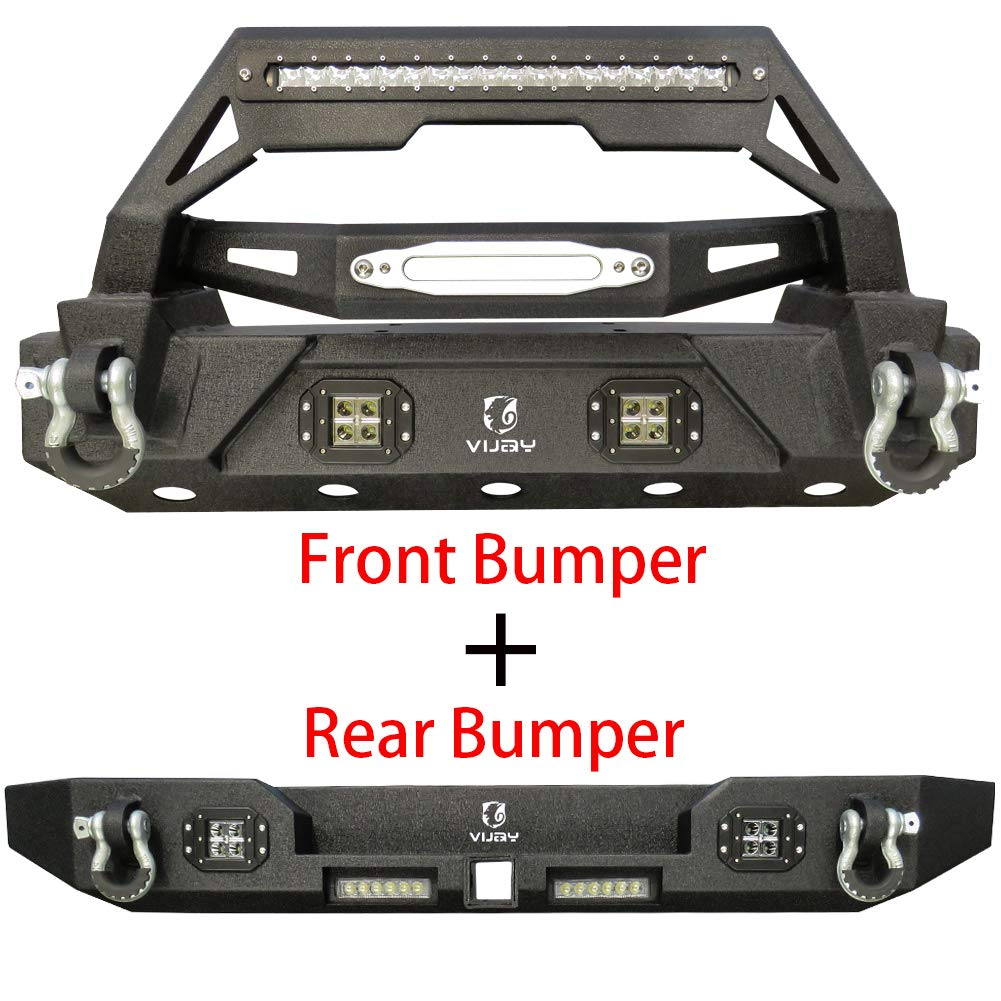 Vijay Jeep Front and Rear Bumper With 1 120W LED Long Light and 6 LED Lights For 87-06 Jeep Wrangler TJ/YJ&Unlimited