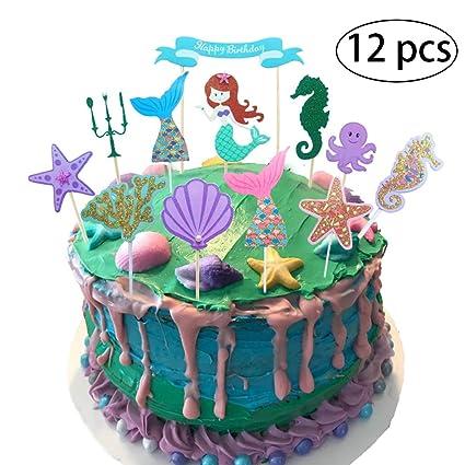 12 piezas) bozoa cola de sirena para decoración de tartas de ...