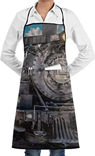 Drempad Premium Aprons Retro Steam Train Chef Apron Funny Heavy-Duty Aprons for Grilling, BBQ, Baking or Cooking