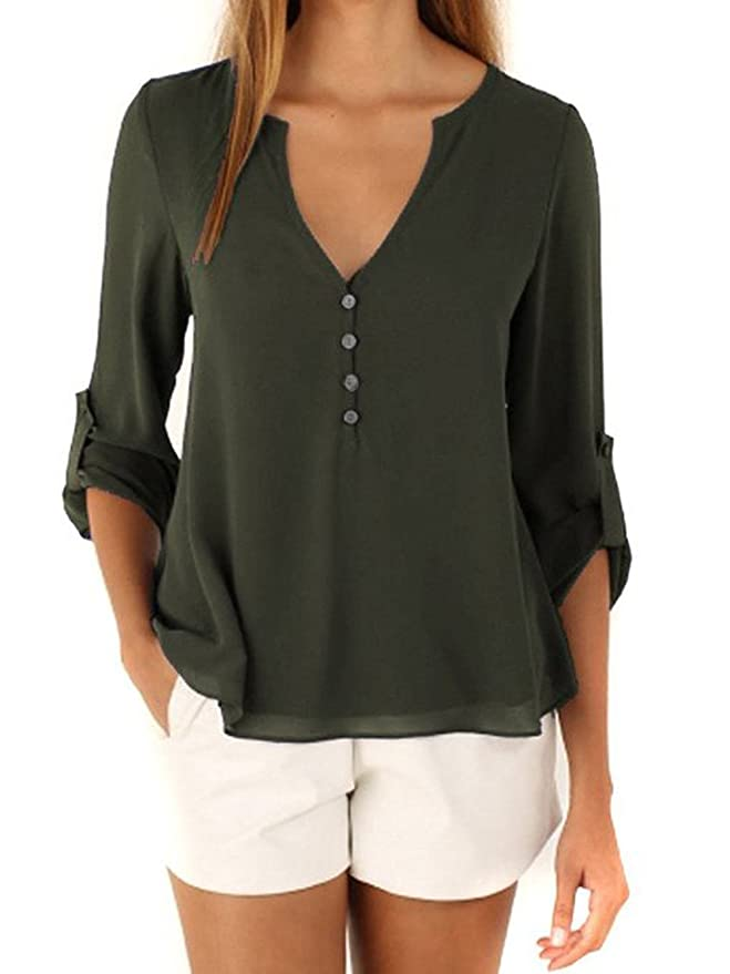 e4df49f0b4412 DEARCASE Women s V-Neck Button Detail Dip Back Solid Blouse Top Army ...