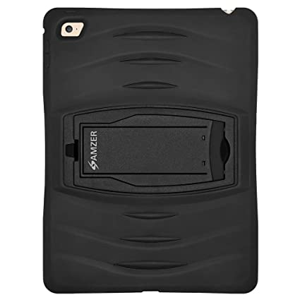 AMZER Tri Layer TUFFEN Rugged Case with Built in Screen Protector for Apple iPad Air 2   Black Screen Protectors
