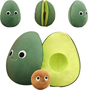 ELAINREN Lifelike Fruit Avocado Plush Toy Comfort Food Avocado Stuffed Soft Hugging Pillow Decor Xmas Birthday Gifts
