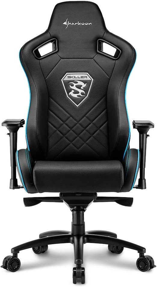 Sharkoon Skiller SGS4 Chaise Gamer, Cuir synthétique, Noir/Bleu, 58 x 60,5 x 139 cm