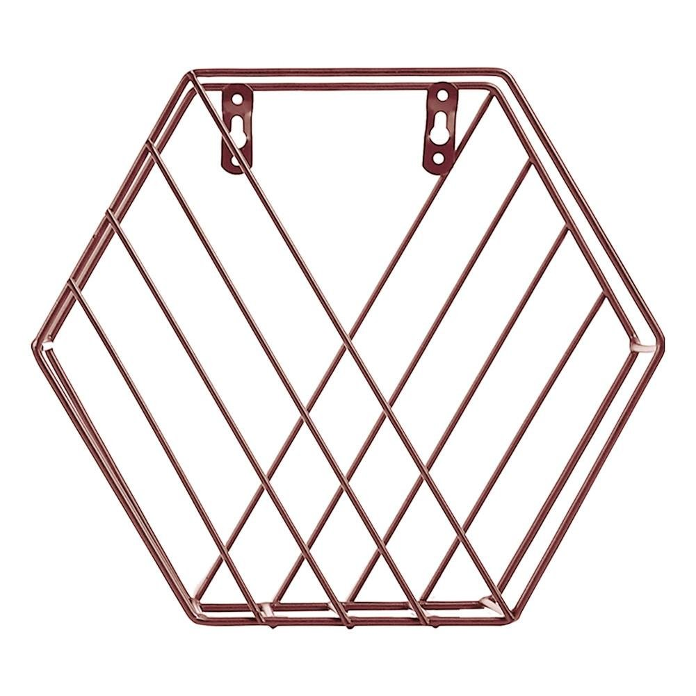 Metal Wire Hexagon Design Wall Mounted Floating Shelves Books Magazines Newspaper Hanging Plant etc Biback