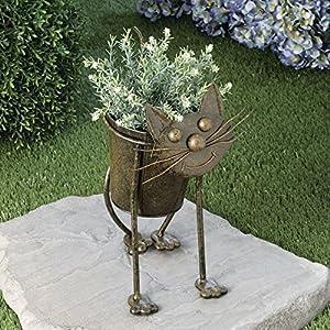 Metal cat planter animal urn planter cute for Cat yard art