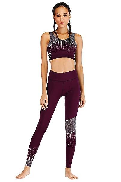 Landove Conjunto Ropa Deportiva Bohemio Chic 2PC Conjuntos de ujetador Crop Top y Pantalon Leggings Yoga para Mujer S Color 31