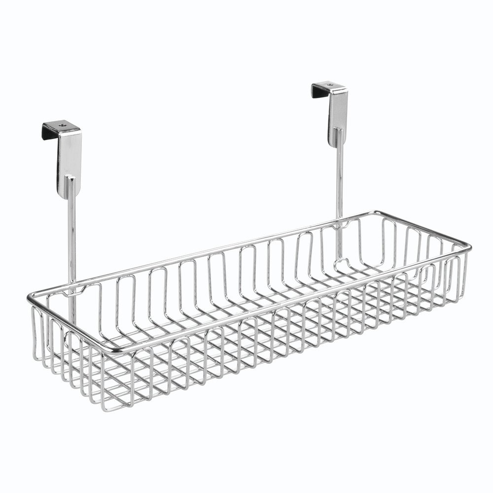 InterDesign Classico Over The Cabinet Kitchen Storage Organizer Basket For Sponges, Soap, Cleaning Supplies, Small, Chrome 50330