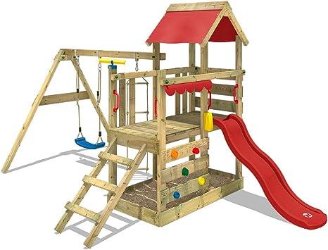 WICKEY Parque infantil de madera TurboFlyer con columpio y tobogán rojo, Torre de escalada da exterior con arenero y escalera para niños