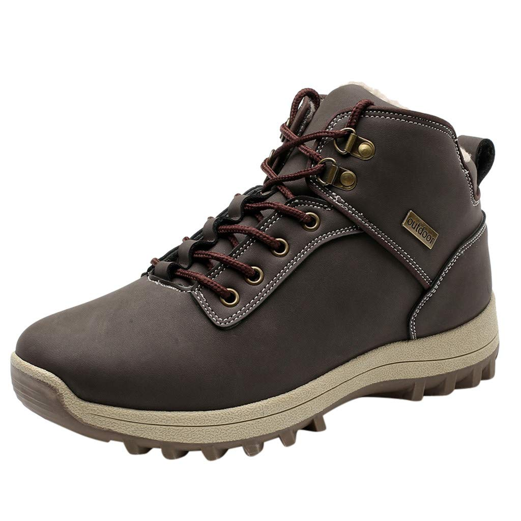 Dermanony Men's Hiking Shoes Leisure Sports Shoes are Breathable Winder Shoes Large Size Plus Velvet Outdoor Sport Shoes Brown by Dermanony _Shoes