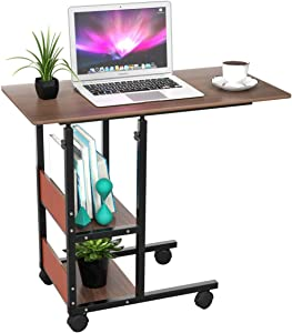 J-KING Home Office Laptop Desk 31'' Movable Height Adjustable Fashion Study Room Bedroom Living Room Workstation Computer PC Notebook Writing Rolling Children Study Table with Shelves