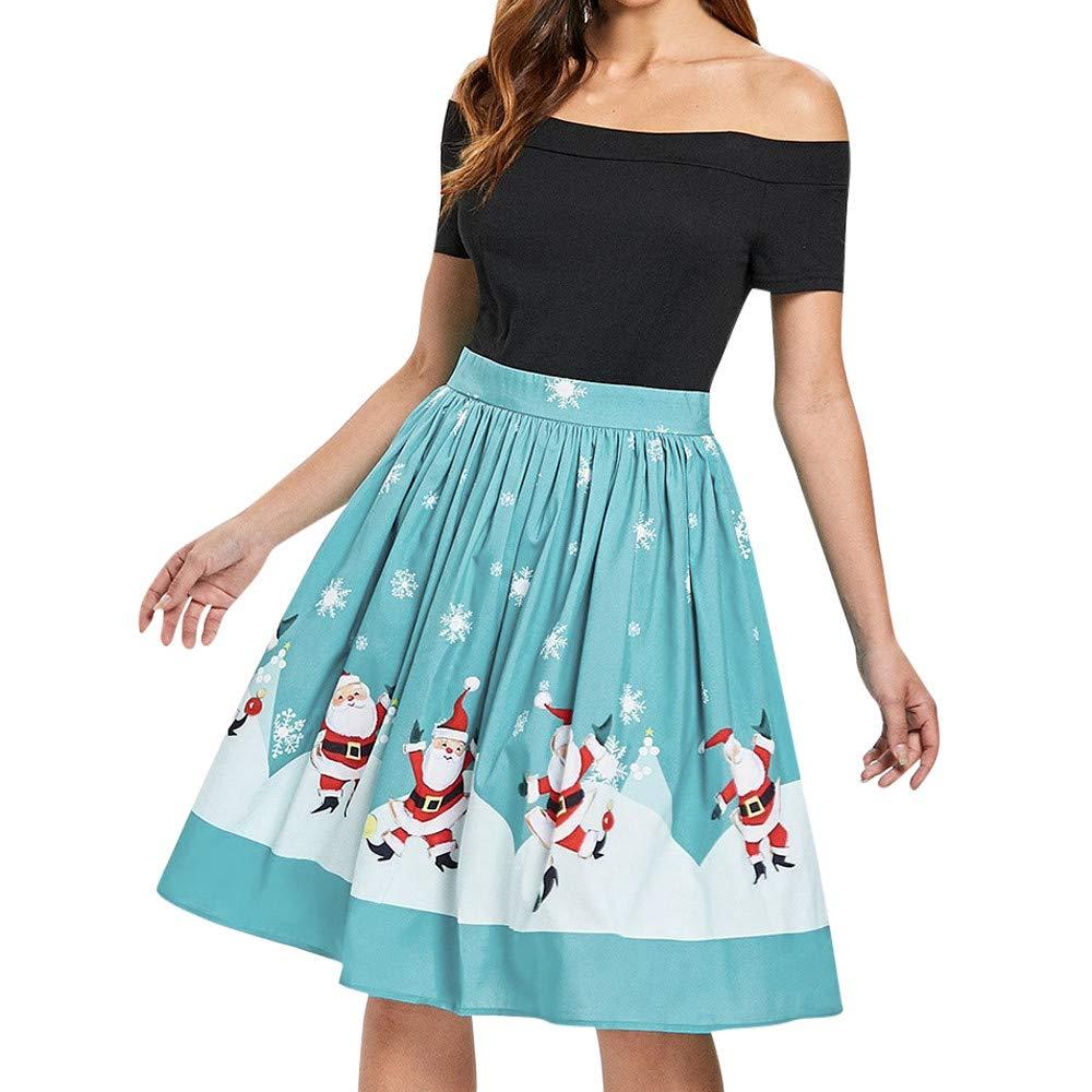 FarJing Women Girls Casual Christmas Off The Shoulder Swing Dress