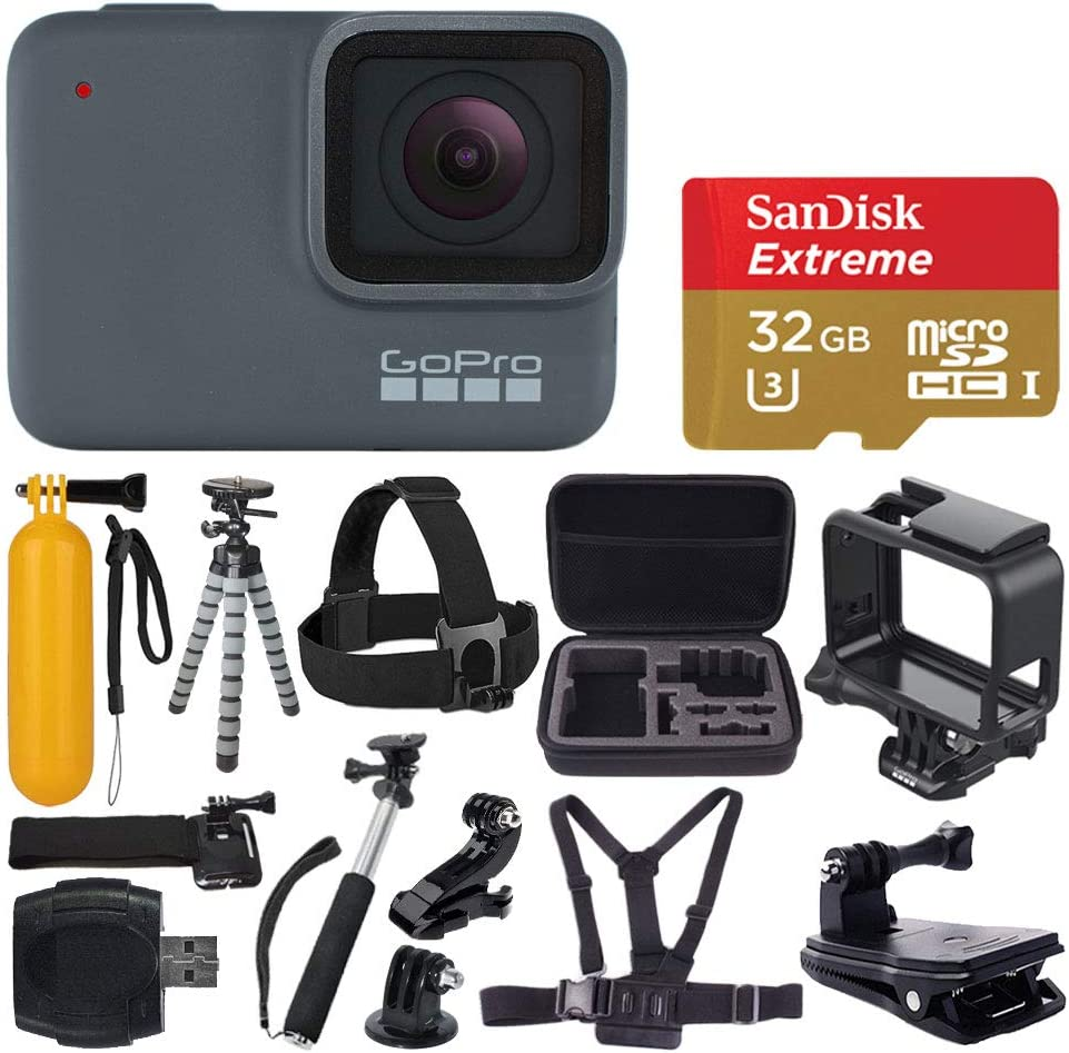 GoPro HERO 7 Silver Waterproof Digital Action Camera + Sandisk Extreme 32GB MicroSDHC Memory Card + Medium Case + Flexible Tripod + Head & Chest Strap ...