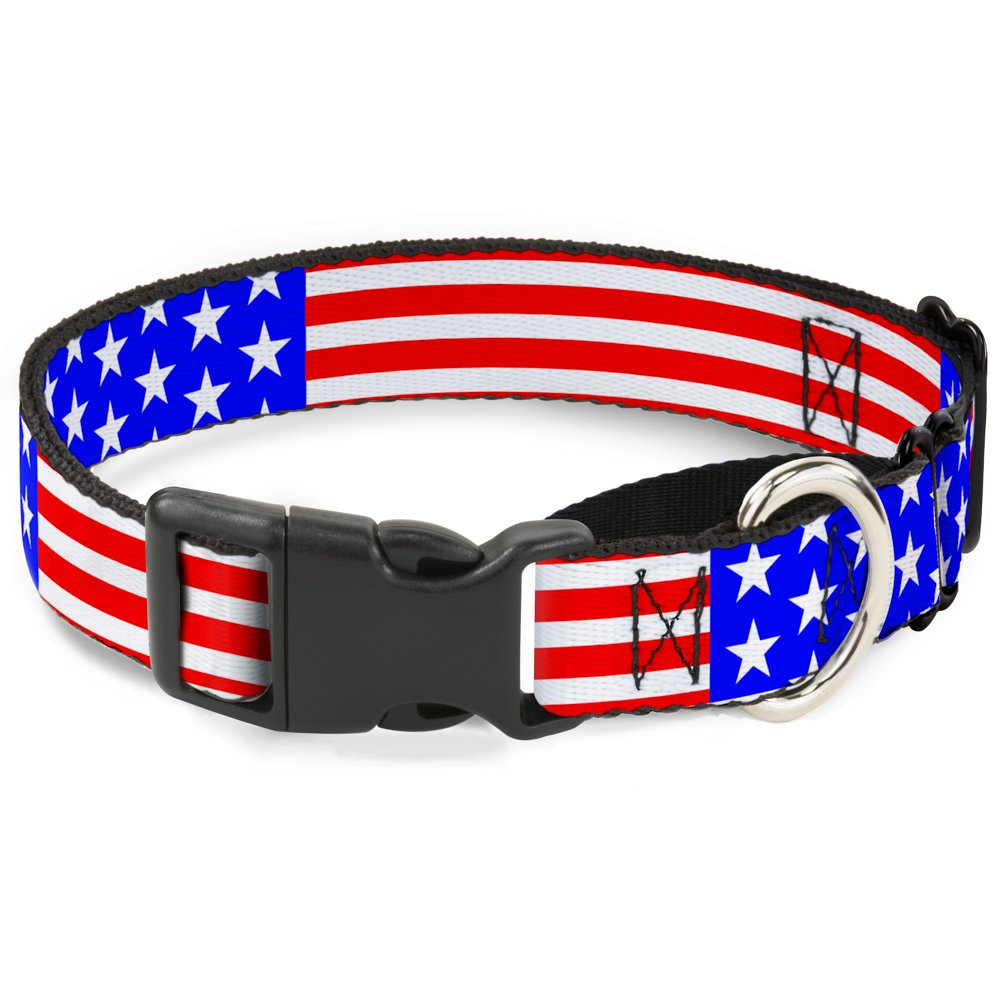 Buckle-Down Americana Stars & Stripes3 Red White bluee Martingale Dog Collar, 1  Wide-Fits 9-15  Neck-Small