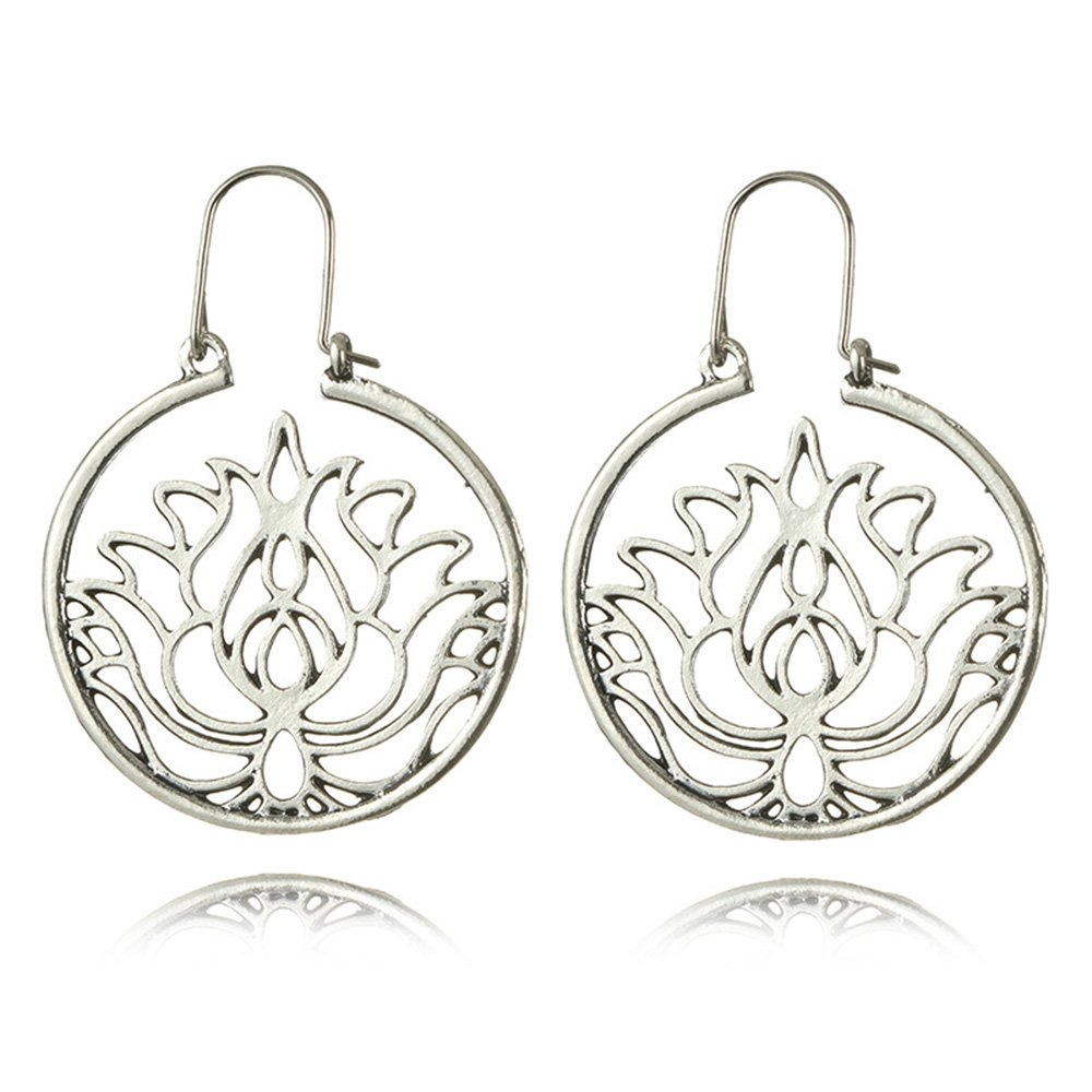 Dwcly Silver Plated Hollow Out Lotus Flower Drop Earring Charm Circle Hoop Earring by Dwcly