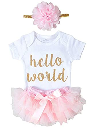 462f28523fed Amazon.com  XIAXAIXU Newborn Baby Girl Hello World 3 PCS Romper Jumpsuit +  Shorts Pants Outfits  Clothing