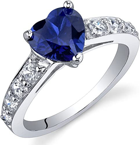 Amazon Com Peora Created Blue Sapphire Heart Promise Ring In