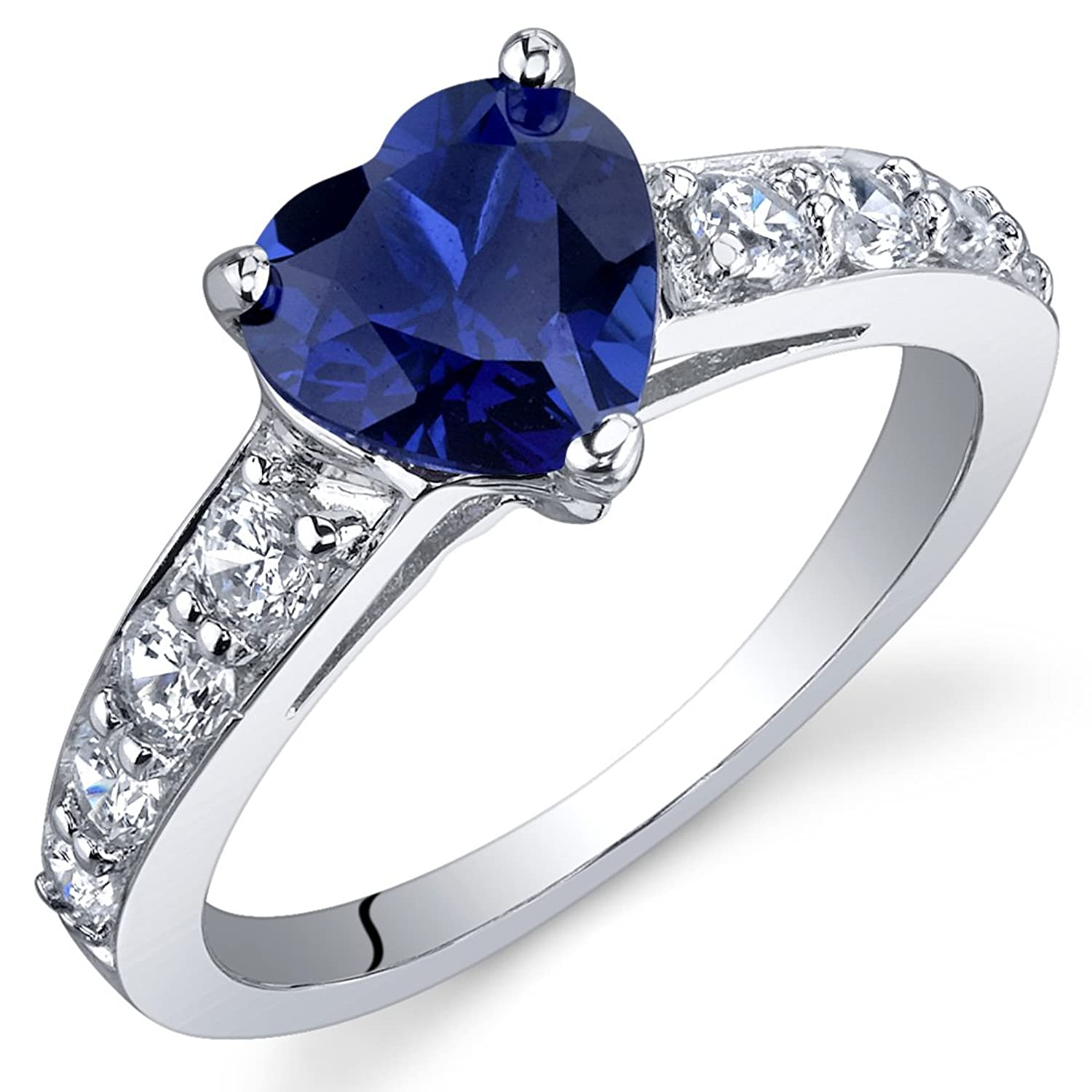 sapphire engagement birthstone classic ring pin blue september solitaire