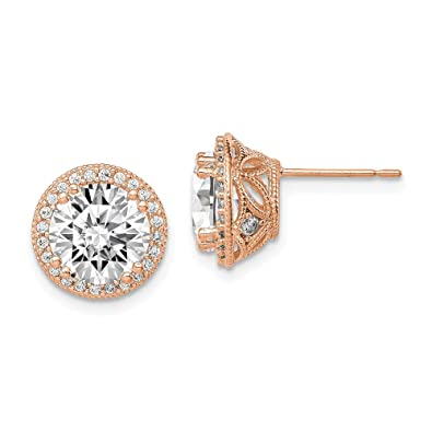 e71f4a765 Amazon.com: 10K Rose Gold Tiara Collection Rose Gold Polished CZ Post  Earrings: Jewelry
