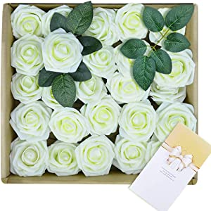 Win A Free Artificial Flowers 25 PCS Fake Rose Flower with Stem Wedding...