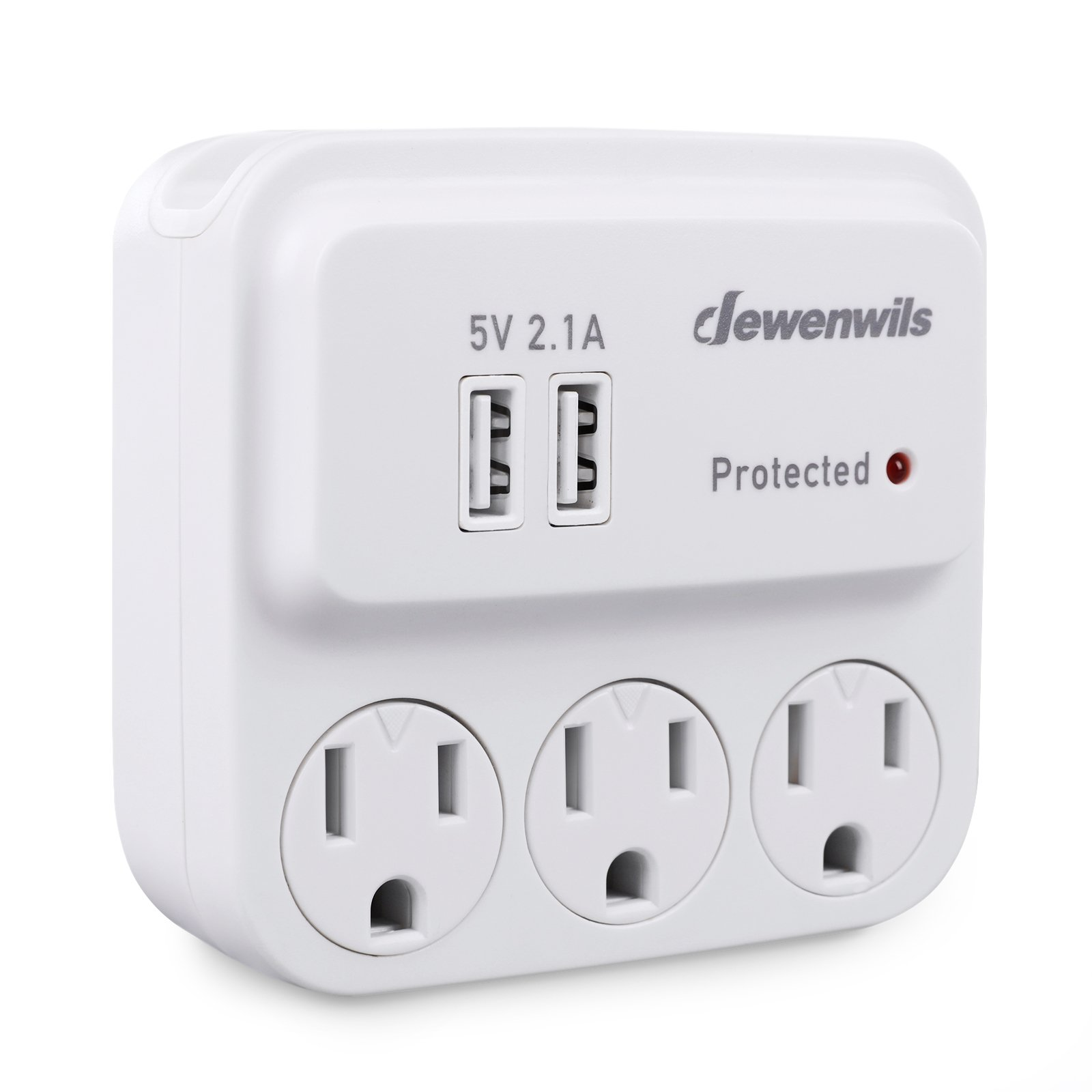 Dewenwils 3-Outlet Surge Protector Wall Plug with 2 USB Charging Ports and Phone Holder, Multi Outlet Wall Adapter for Home/Travel Use, UL Listed, White