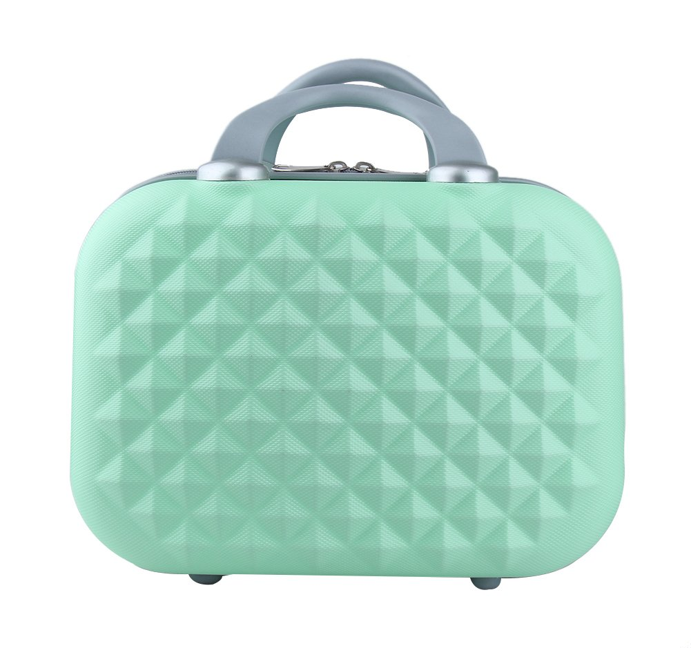 Genda 2Archer Small Cosmetic Suitcase Diamond Hard Shell Luggage Vanity Case 14inch (Green)