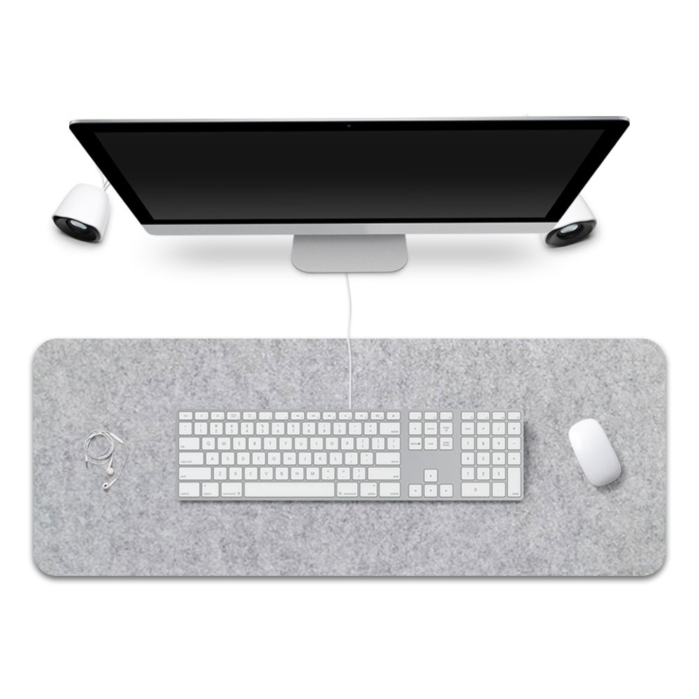 FireBee Extended Gaming Mouse Pad Desk Pad Protector Office Writing Mat Felt Base 0.12 inch Thick (Light Gray)